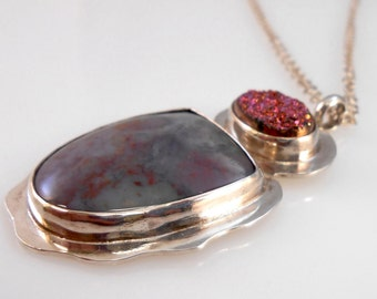 Delicious Pink Druzy and Jasper in Fine Silver Necklace