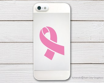 Awareness Ribbon, Breast Cancer Awareness - Vinyl Sticker Vinyl Decal - Choice of Color (for other cancers) - Phone Sticker, Laptop Sticker