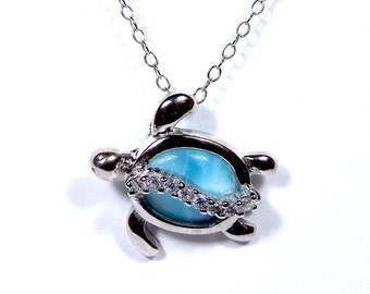 """925 Sterling Silver 18"""" Necklace & Genuine AAA Dominican Larimar Turtle Pendant"""