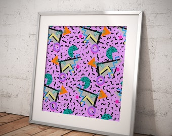 Fine Art Print Memphis Style 80's 90's Geometric Retro Modern Interior Home Decor Bright Abstract Design - Various Sizes