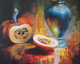Vase and Pumpkins, still life painting, oil and canvas, artwork for sale