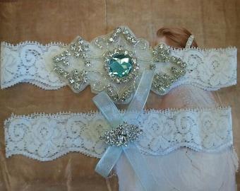 Wedding Garter, Bridal Garter, Garter Set - Crystal Rhinestones with Light Aquamarine Stone on a White Lace - Style G8886