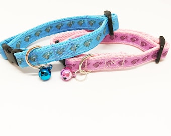 Game of Thrones Houses Sigils - Stark Cat Collar - Pink - Blue Exclusive Inspired Cat Puppy Small Dog Collar *Large Cat*
