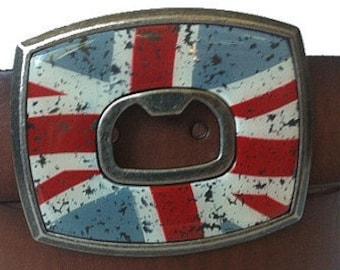 British Flag Bottle Opener Belt Buckle - SALE - Funny Gift Idea - Drinking - England