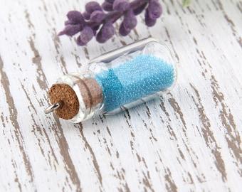 Blue, Mini Glass Bottle Pendant with Caviar Beads, 1 piece // PND-014