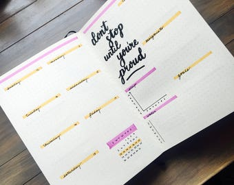Column- Custom made bullet journal - 12 months, habit trackers, weekly journal and more!
