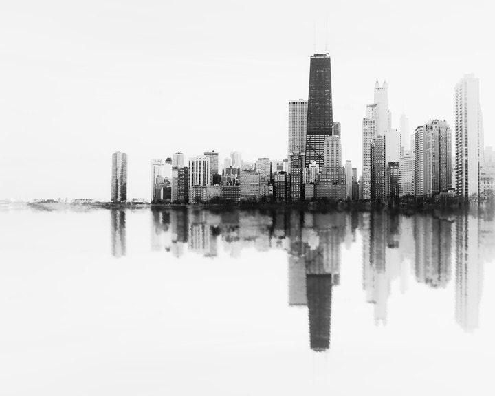 Chicago Skyline Soundwave Art City Scape Photography Of