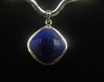Elegant Custom Facet Cut Lapis Lazuli Sterling Silver Pendant