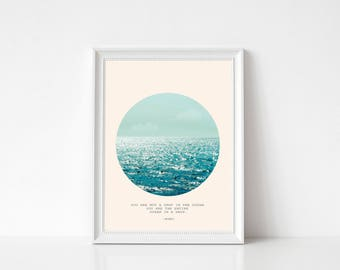 Ocean Wall Art Print, Sea Poster, Large Poster, Minimal, Blue Waves, Rumi Quote, Ocean, Sun & Sea, Drop In The Ocean Quote, Light Blue