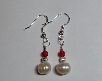 Ruby, Pearl & Sterling Silver earrings