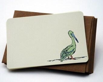 Sandy Dreams Notecard Set - Pelican Notecards in Green, Purple and Cream - Set of 6 flat Notecards and Kraft Envelopes