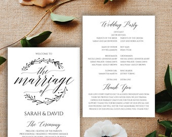 Wedding Programs Instant Download, Wedding Program, Program Template, Printable Program, Wedding Program Template Folded, Printable, BD-6041