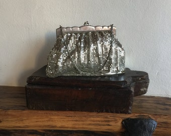 Vintage, Whiting and Davis, Made in the U.S.A, Silver mesh little handbag with silver chain handle, circa 1930