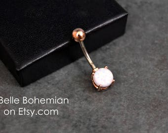 Belly Button Ring Fire Opal White Opal Rose Gold Fiery White Opal Opal Belly Ring Opal Belly Jewelry  Navel Ring