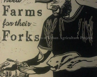 Local foods chef block print