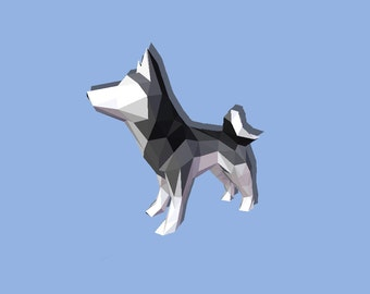 DIY 3D Papercraft Husky - PDF, Printable Model, Template
