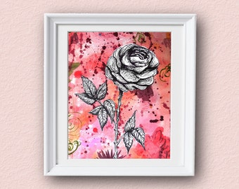 Rose Flower Art - Abstract - Rose Art - Giclee Art Print