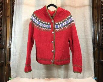 Hand knit Nordic style cardigan