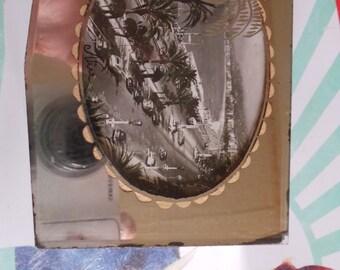 """pretty box """"promenade des Anglais"""" jewelry was Nice. 1950's! mirror."""
