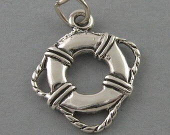 LIFE PRESERVER 925 Sterling Silver Charm Pendant Nautical Ocean Beach 2385