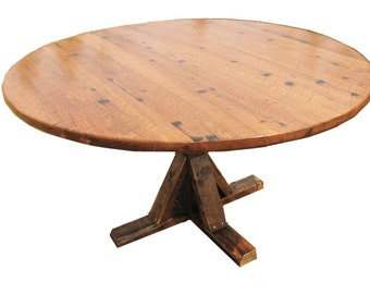 Dining Table, Farmhouse, Round, Pedestal, Reclaimed, Kitchen, Rustic