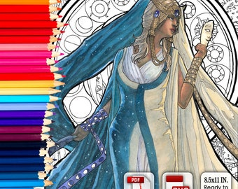 Printable Coloring Book Page for Adults - Lady of September with Morning Glories and Celestial Moon and Sun in Art Nouveau Style Line Art