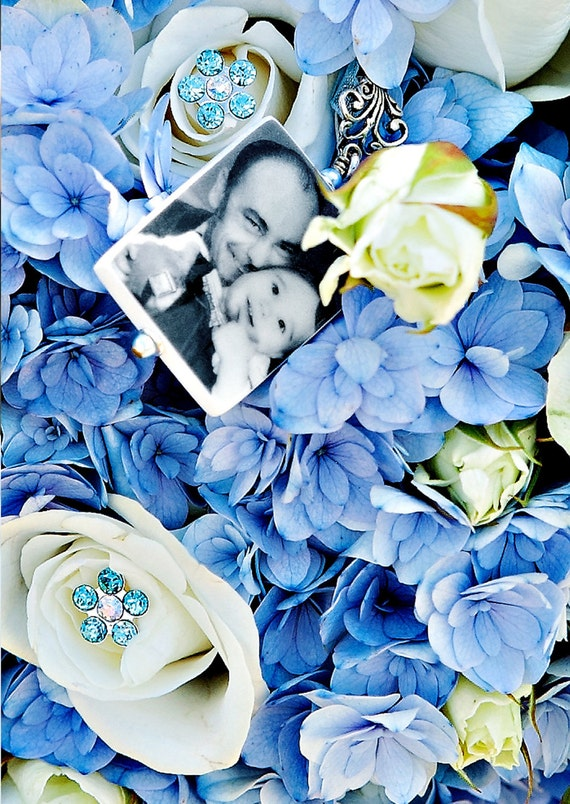 Wedding Bouquet Charm With Fancy Bail - Lg. Photo Memorial - BC1F