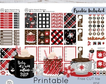 Peppermint Cocoa printable planner stickers. Erin Condren and Happy Planner weekly kit. Hot chocolate cozy warm winter coffee cake drink