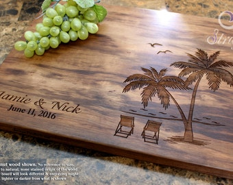 Beach With Palms Personalized Cutting Board - Engraved Cutting Board, Wedding Gift, Anniversary Gift, Housewarming Gift, Corporate Gift. 409