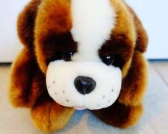 Vintage Saint Bernard plush toy brown and white