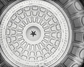Black and White Texas Print or Canvas Art, Texas Art, Texas Capitol Print, Texas Star Art, Austin Texas Art, Architecture Print.