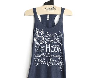 SALE Small -Tri-Blend Navy Racerback Tank with Shoot for the Moon Screen Print
