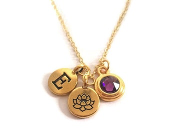 Personalized Lotus Blossom with Birthstone Necklace, Gold Necklace, Swarovski Crystal Birthstone, Initial Charm, Gift for Her