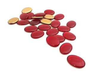 13x18 Oval Flat Back Cabochon, Czech Glass Cabochon, Vintage Cabochon, Gold Foiled, DIY Cabochon, Jewelry Making, Wholesale, 10pcs