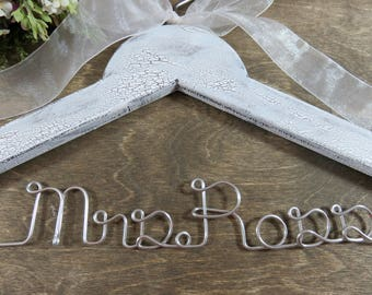 Crackled Name Hangers - Crackled Paint - Coat Hangers - Bride Hangers - Personalized - Wedding Photo Props - Personalized Name - Gifts
