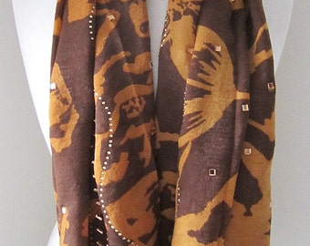 Brown Silk Scarf with Securely Ironed-on Sparkling Jewels - Long brown silk scarf, For her, Light weight scarf bandana, Mother's Day Gift