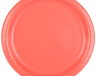 25 (7\ ) Coral Round Paper Plate Wedding Supplies Wedding Wedding  sc 1 st  Etsy : paper plates at a wedding - pezcame.com