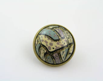 Abstract Cabochon Pin, Tie Tack, Lapel Pin, Gift for Men, Scarf Pin, Brooch Pin, Abstract Jewelry, Art Deco Brooch, P219