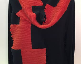 Luxurious cashmere scarf, upcycled, colorblock bright orange and black solids, 100% cashmere scarf, warm scarf, gift for woman,soft scarf