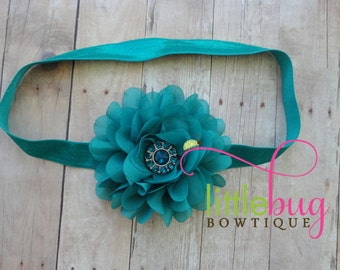Teal Headband, Jade Headband, Flower Headband, Teal Hair Bow, Teal Flower, Jade Hair Bow, Baby Girl Headband, Teal, Jade, Toddler Headband
