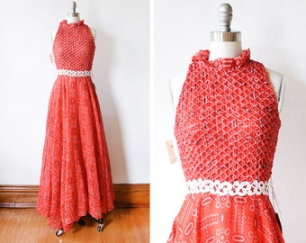 70s bandana dress, vintage 1970s red maxi dress, smocked boho hippie maxi dress, small