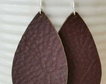 Rustic Brown Leather Earrings/Teardrop