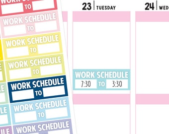 Work Schedule Planner Stickers, Work Stickers, Schedule Stickers, Work Planner Stickers, Schedule Planner Stickers