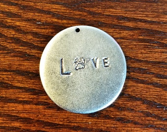 Handstamped Love with Paw Pendant Necklace