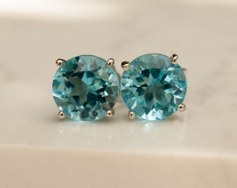 Estate Large Round Blue Topaz and 14k White Gold Stud Earrings