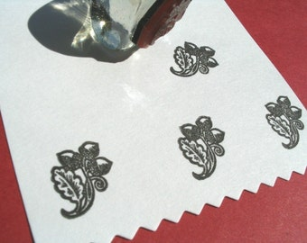 Acorn and Oak Leaf  Rubber Stamp - Handmade by BlossomStamps