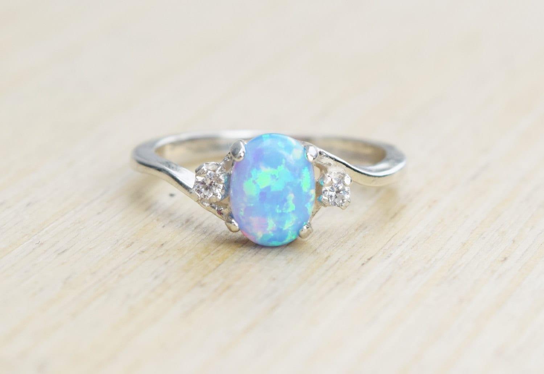Silver Lab Opal Ring Blue Opal Ring Light Blue Opal Ring
