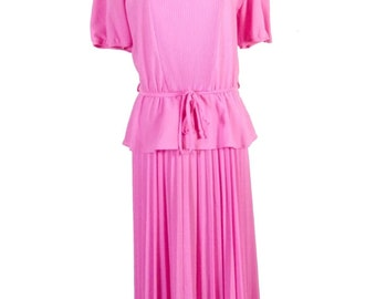 vtg 70s does the 50s Doo Dads Solid Pink Crimped Pleated Tiered Circle Dress 40