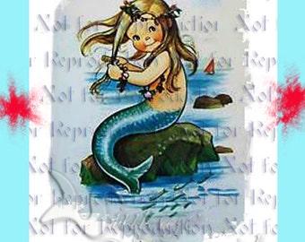 MERMAID FABRIC Baby Mermaid Merbaby Quilt Fabric BLOCKS Panel for Quilting merb18.