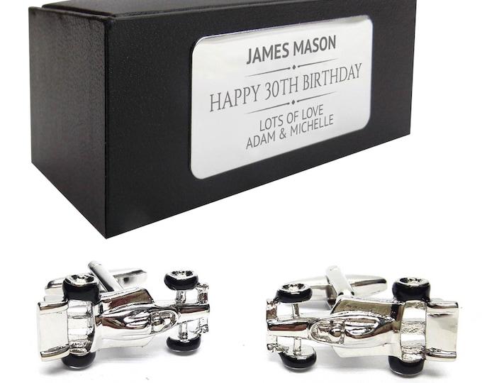F1 racing car CUFFLINKS 30th, 40th, 50th, 60th, 70th birthday gift, presentation box PERSONALISED ENGRAVED plate - 074